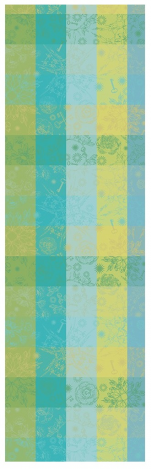 Table runner 55x180 cm100% cotton leaves and keys green/blue/yellow