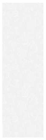 Table runner 55x180 cm100% cotton white flowers on a white background