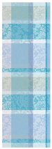 Table runner 55x180 cm 100% cotton turquoise, blue and green flower lace