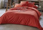 Duvet cover + pillowcase 100% cotton percale ski embroidered coral orange