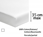 Fitted sheet 100% cotton white percale, length 200 cm, mattress up to 35 cm