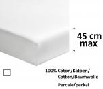 Fitted sheet 100% cotton white percale, length 200 cm, mattress up to 45 cm