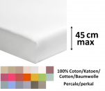 Fitted sheet 100% cotton percale, colors,  length 200 cm, mattress up to 45 cm