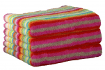 Bath sheet 70x180 cm 100% cotton terry multicolored lines double sided