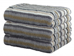Bath sheet 70x180 cm 100% cotton terry multicolored grey lines double sided.