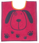 Bib 33x40 cm100% cotton pink and gray dog