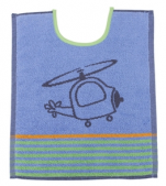 Bib 33x40 cm100% cotton blue and gray helicopter