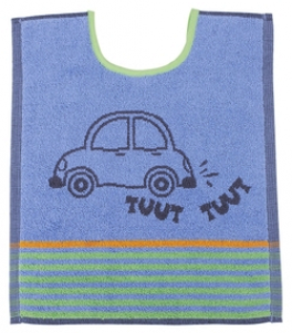 Bib 33x40 cm100% cotton blue and gray car