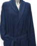 Bathrobe with shawl collar 100% cotton Navy blue