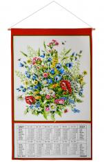 Calendar Kreier 2021 Flowers, pure linen, 69 x 41 cm