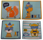 Pack of 4 children's handkerchiefs fantasy animals 29x29 cm 100% cotton
