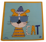Children's handkerchief 29x29 cm 100% cotton: cat