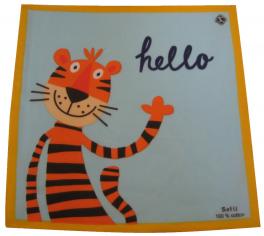 Children's handkerchief 29x29 cm 100% cotton: tiger