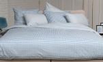 Duvet cover + pillowcases 65x65 cm vichy blue 100% cotton percale