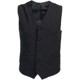 Black lined waistcoat V-neck black buttons adjustable back pockets