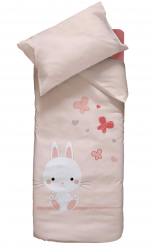 Quilt cover 100x140 + 1 pillowcase 40x60 rabbit, butterfly and heart 100% cotton