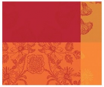 Placemat 40x50 cm 100% cotton orange, red and yellow wild flowers and leaves