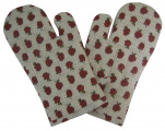 2 Kitchen glove 17x33 cm quilted cotton poplin Raspberries
