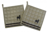 2 Potholders 20x20 quilted dyed woven cotton with embroidered donkey