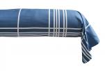 Bolster case 86x185 cm Quadri blue/white 100% combed cotton percale easy care