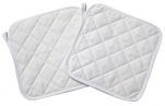Set of 2 potholders 20x20cm 100% white cotton