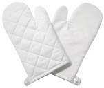 Set of 2 quilted kitchen gloves 100% white cotton