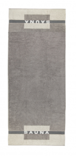 Large bath towel in 100% cotton terry 80x200 cm, gray/beige with Sauna