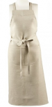 Bib apron in 100% natural linen 100 cm wide x 110 cm high + large pocket