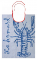 Blue lobster Bib 100% jacquard cotton 43x60 cm,  washable at 60°C