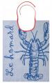Blue lobster Bib 100% jacquard cotton 43x60 cm,  washable at 60°C