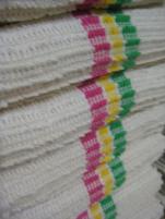Floorcloth 60x70 cm 100% soft ecru cotton chenille absorbent tricolor bands