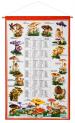 Calendar Kreier 2022 Mushrooms, pure linen, 69 x 41 cm