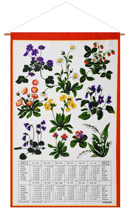 Spring 2022 Calendar.Calendar Kreier 2022 Spring Flowers Pure Linen 6