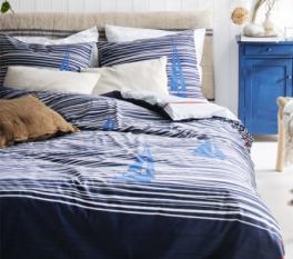 Duvet cover + pillowcase 60x70 blue sailboat 100% percaline cotton