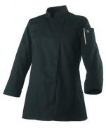 Ladies Jacket kitchen black UNA. long sleeves polycotton