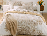 Duvet cover + pillowcase white 100% cotton percale printed  sanded geometric