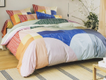 Duvet cover + pillowcase Geometric colors 100% printed cotton percale