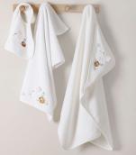 Bath cape + Towel + Bib set 100% white cotton, little animals embroidered