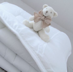 White quilt 100x140 cm 100% polyester microfiber 300gr/m² for a cage bed