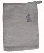 Gant de toilette 15x20 cm brodé lapin gris 100% coton