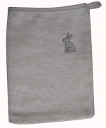 Glove 15x20 cm embroidered gray rabbit 100% cotton