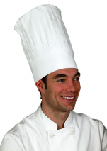 Chef's hat  TB 100% cotton adjustable by 8 cm velcro HB : 9 cm, TH : 36 cm