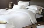 Housse de couette 100% satin de coton jacquard motifs lignes brilliantes blanc