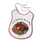 "Bib drawing a seafood plate ""les délices de la mer"" 100% cotton"