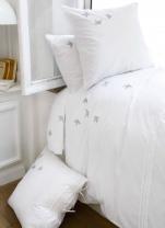 Single flat sheet 180x290 cm+ 1 pillowcase 65x65 100% cotton percale swallows