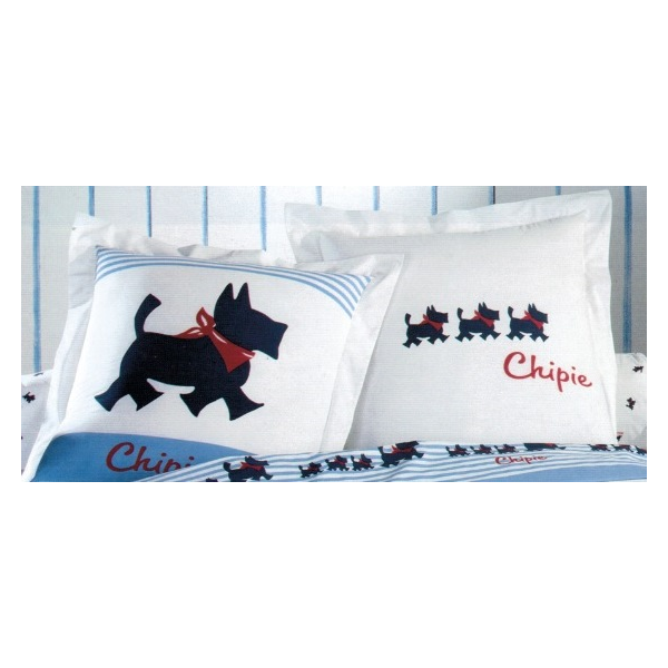 chipie linge de lit Drap plat Chipie petit chien bleu 100% coton chipie linge de lit