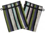 Gant de toilette 14x21 cm Nik 100% coton avec rayures multicolores vert...