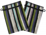 Washcloth 14x21 cm Nik 100% cotton with multicolored stripes: green ...