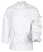 White kitchen jacket Mel unisex polycotton long sleeves